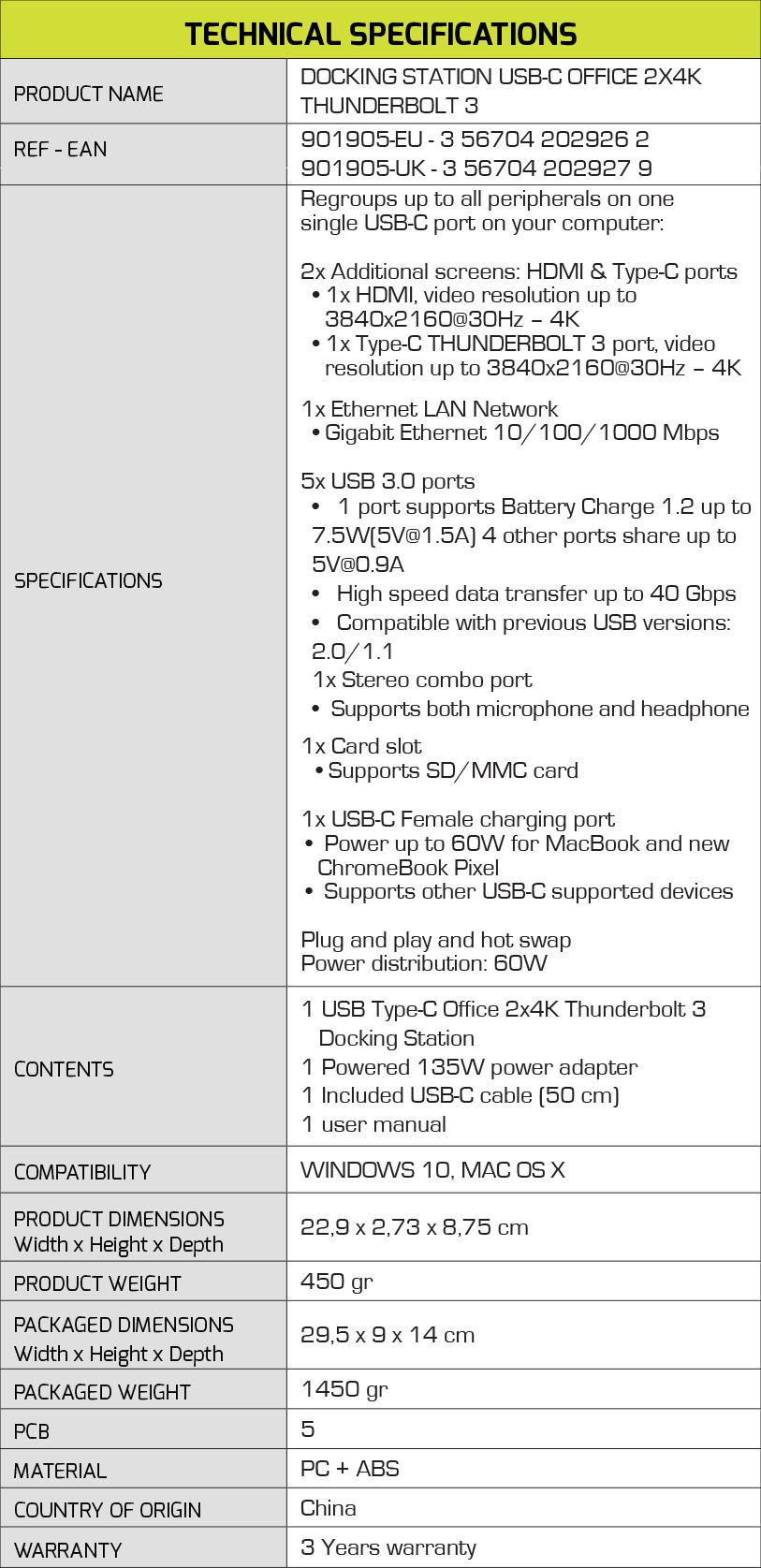 DOCKING THUNDERBOLT 3 - OFFICE 2 X 4K - Port Designs